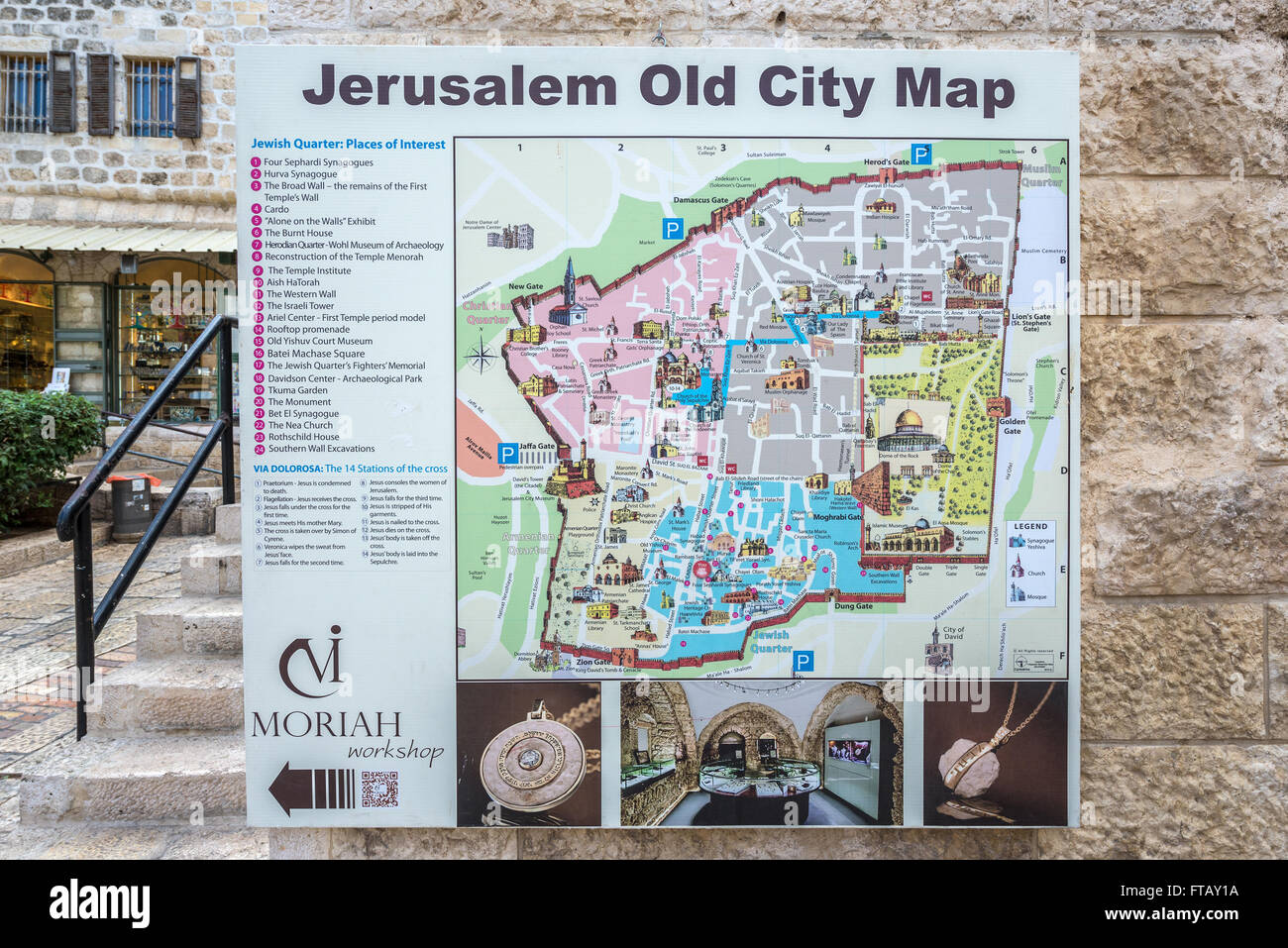 old city map in jewish quarter old town of jerusalem israel. old city map in jewish quarter old town of jerusalem israel