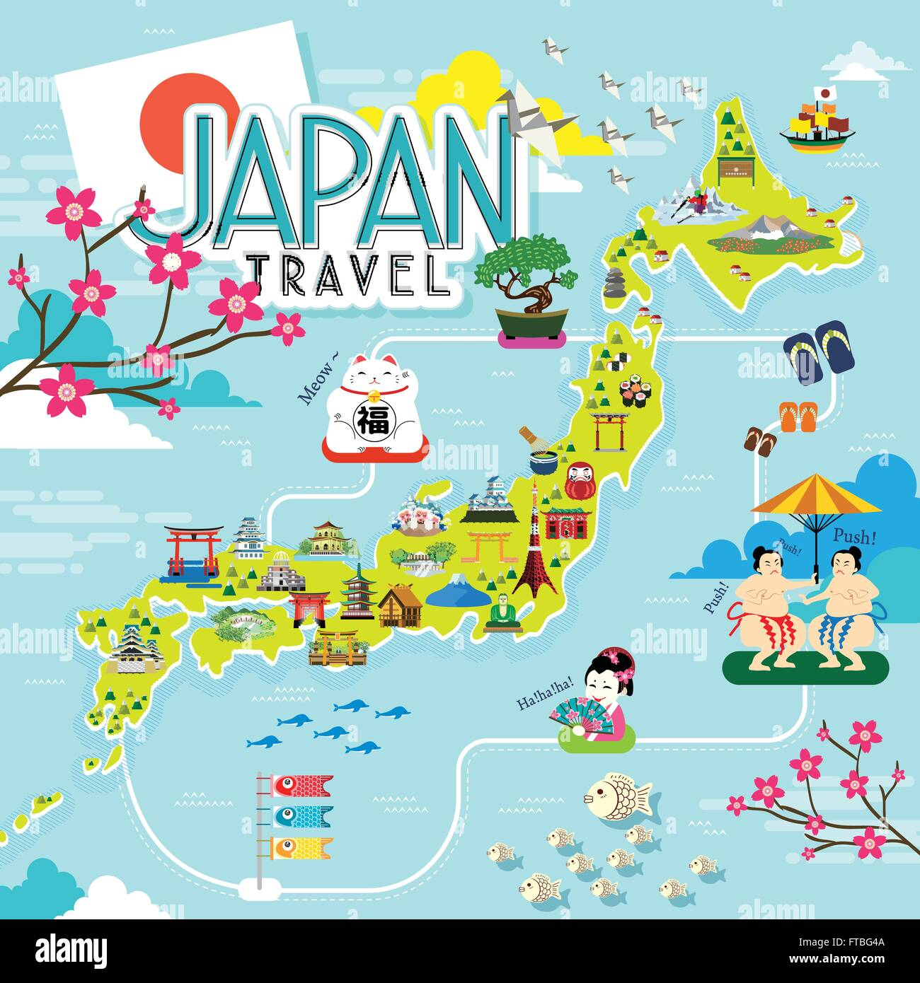 japan travel map with lovely famous attractions. japan travel map with lovely famous attractions stock vector art