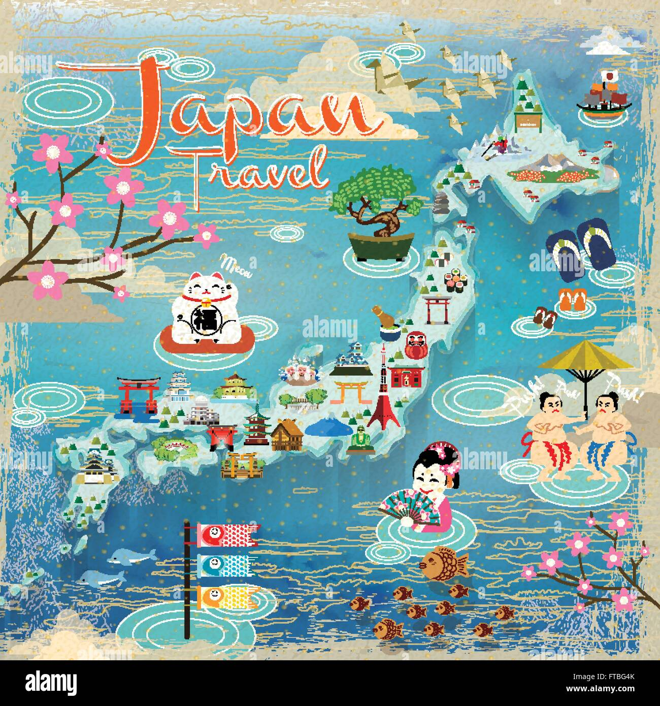 Japan Travel Map With Lovely Famous Attractions Stock Vector Art - Japan map vector art