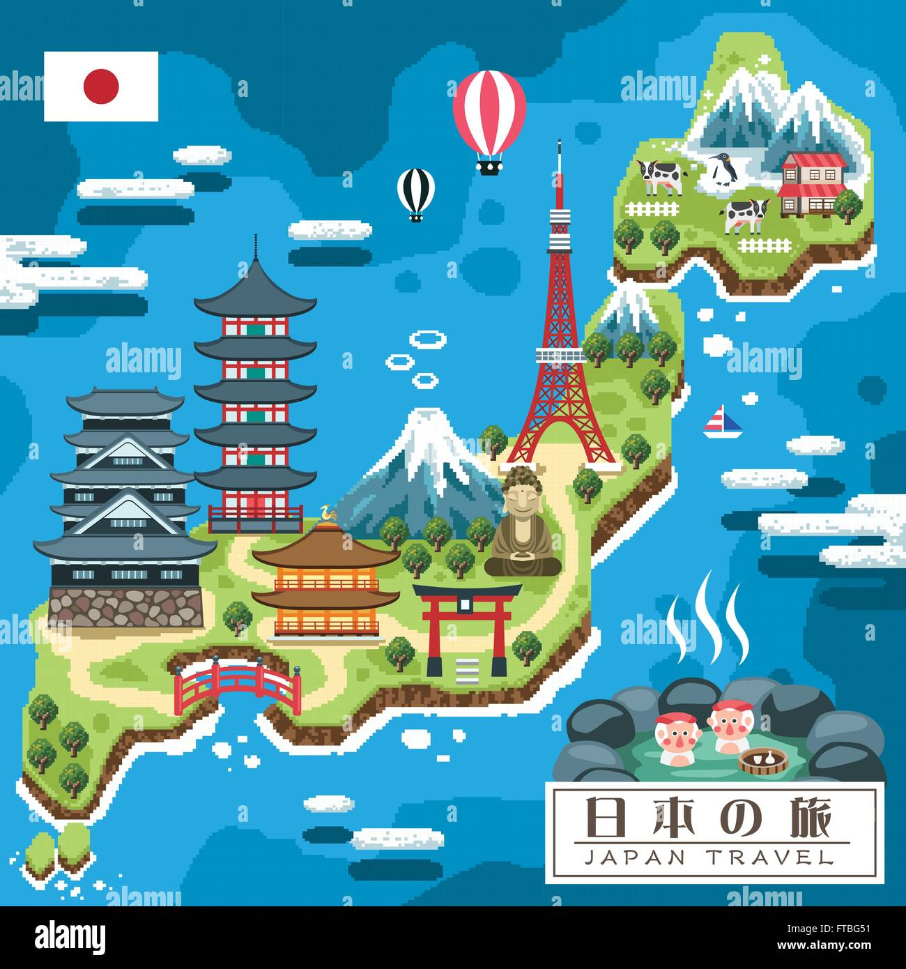 Funny Japan Travel Map In Pixel Style Japan Travel In Japanese - Japan map vector art