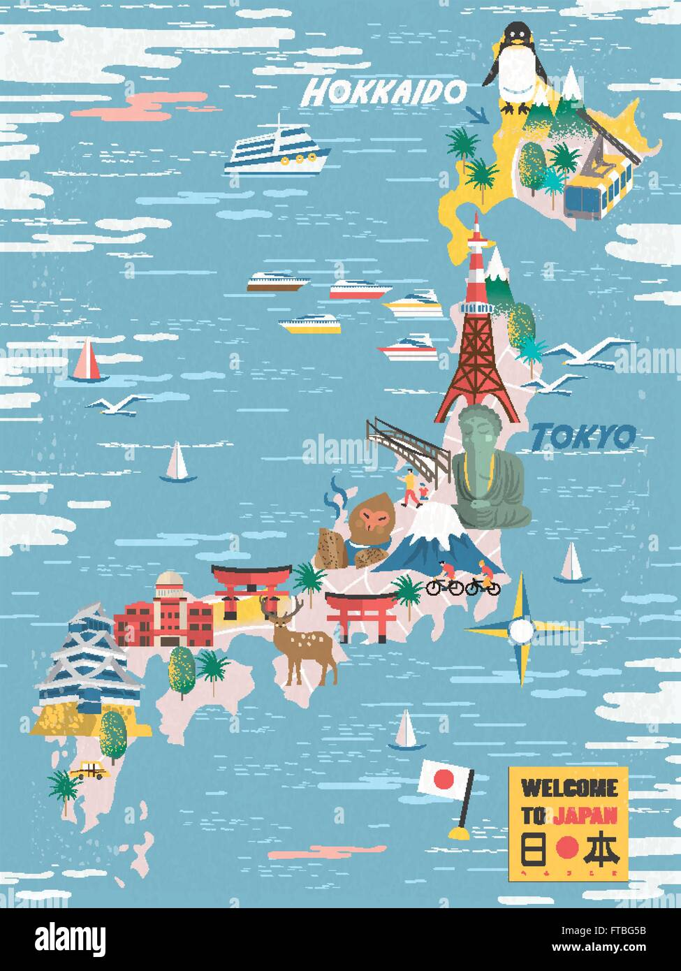 Japan Travel Map With Famous Attractions Japan In Japanese On - Japan map vector art