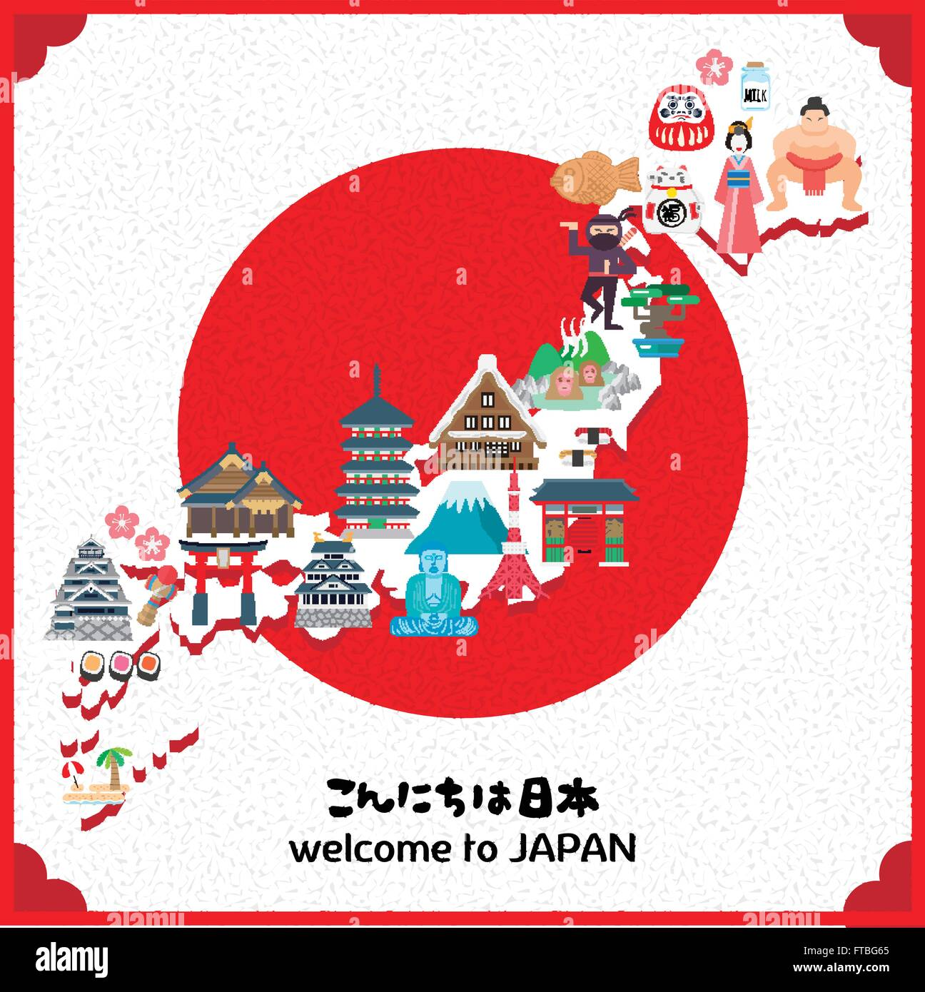 Lovely Japan Travel Map With Sun Hello Japan In Japanese Stock - Japan map vector art