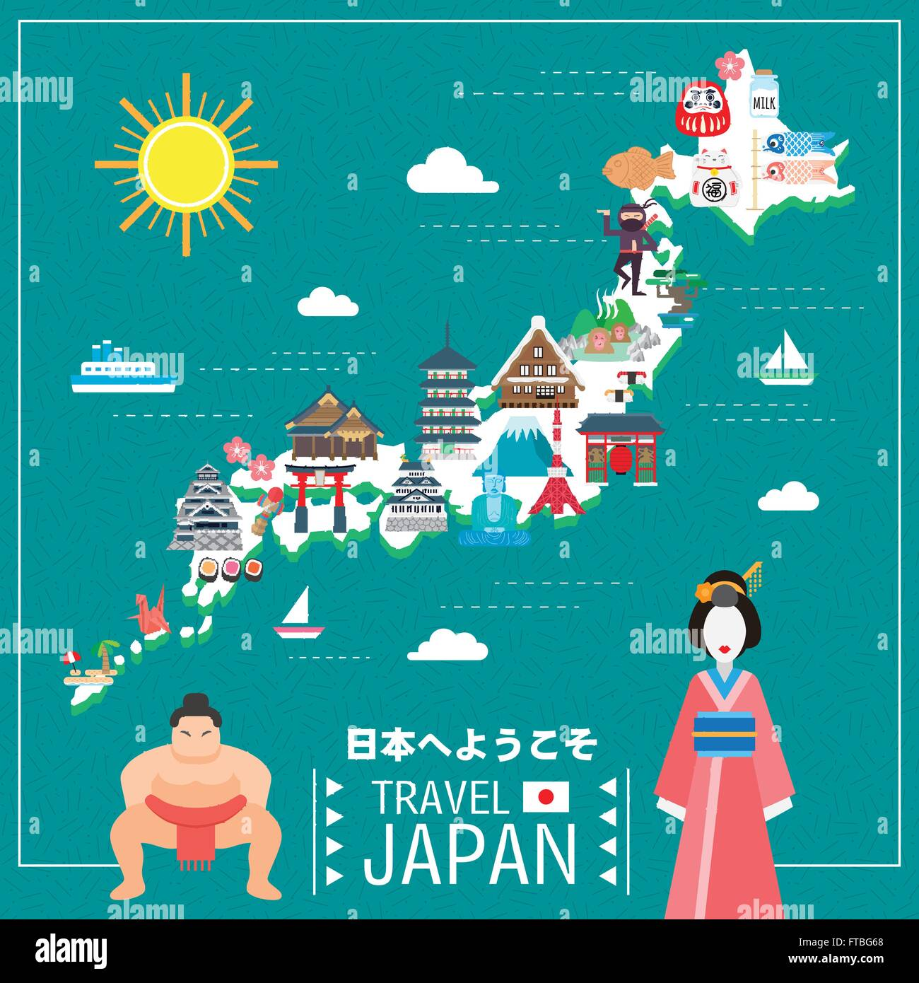 Lovely Japan Travel Map Welcome To Japan In Japanese Stock - Japan map vector art