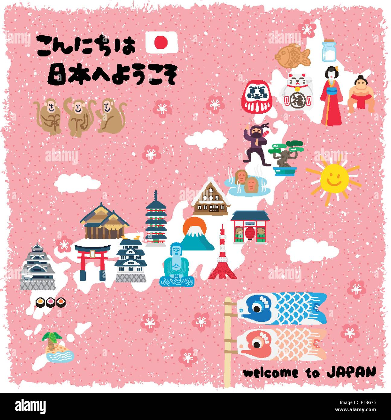 Lovely Japan Travel Map Hello And Welcome To Japan In Japanese - Japan map vector art