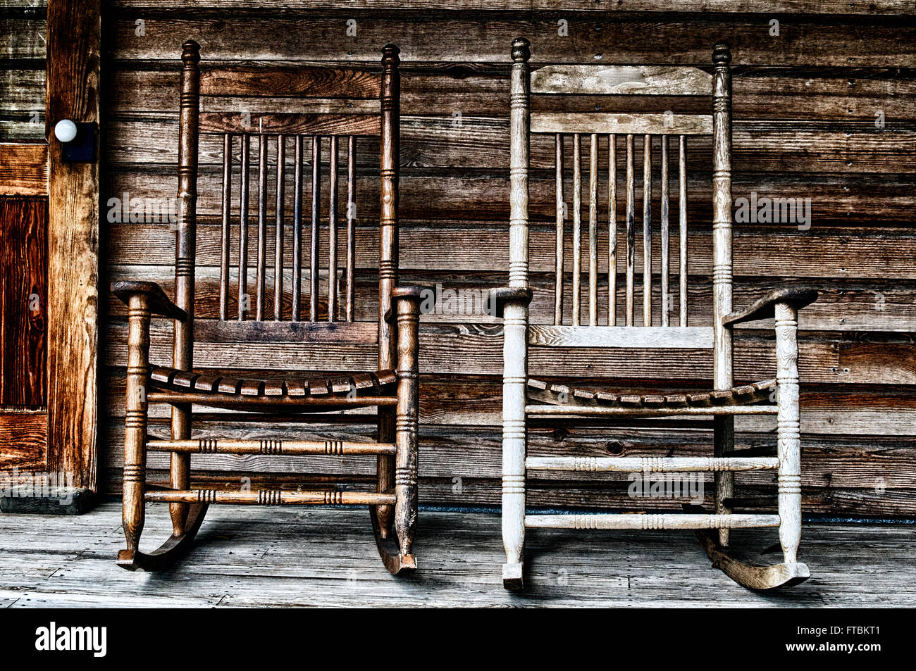 Two Old Wooden Rocking Chairs On Front Porch Part Of Door And The Houses Shingles Can Be Seen Rustic Koreshan State Park Estero Florida