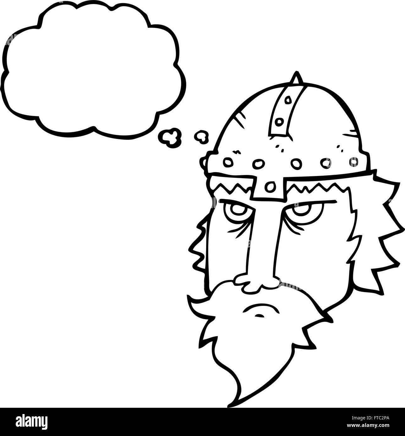 Freehand Drawn Thought Bubble Cartoon Viking Warrior