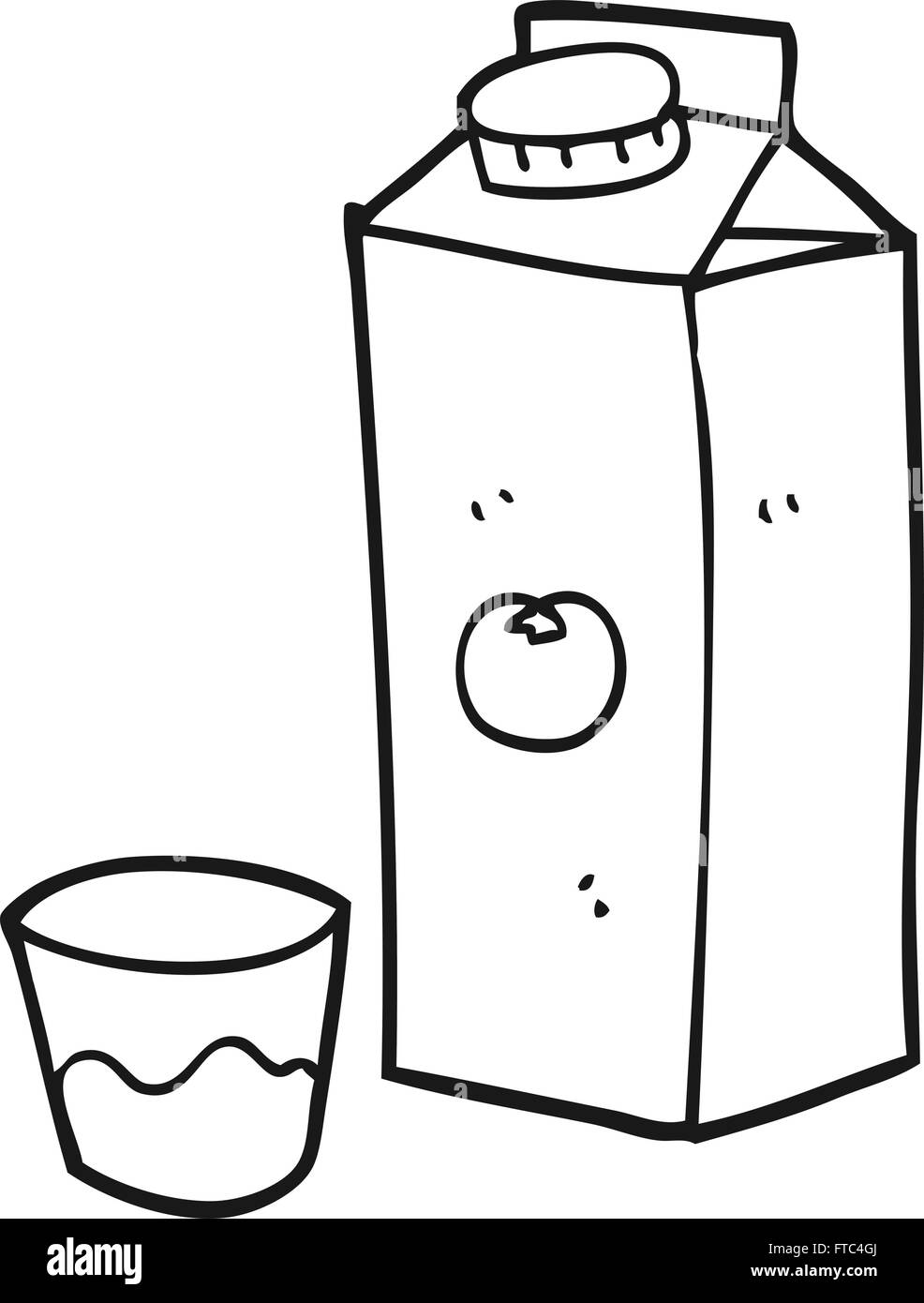 Colouring in juice - Freehand Drawn Black And White Cartoon Orange Juice