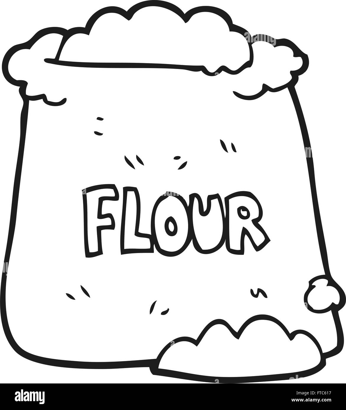 Coloring book bag - Stock Vector Freehand Drawn Black And White Cartoon Bag Of Flour