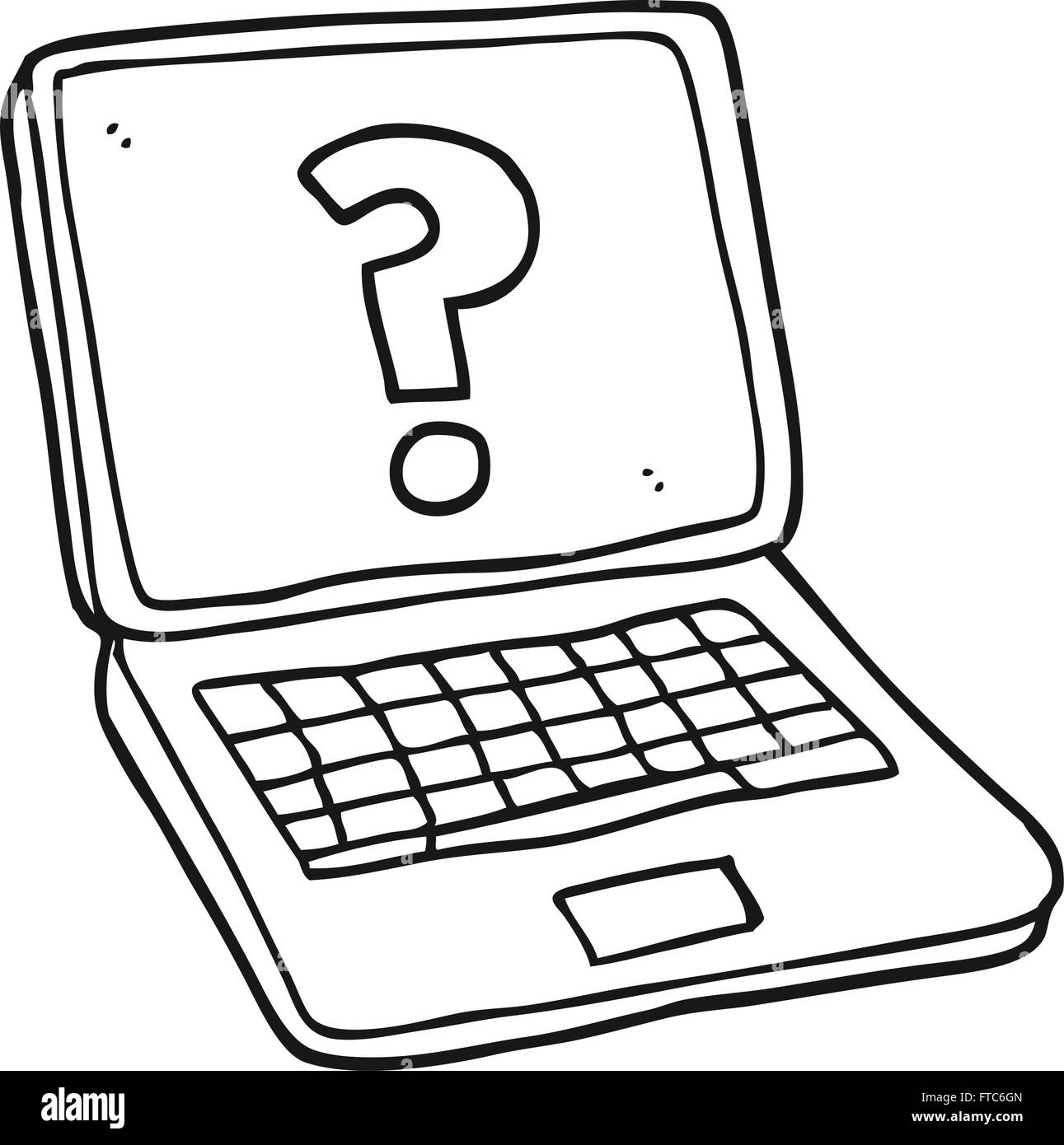 freehand drawn black and white cartoon laptop computer with question stock vector art. Black Bedroom Furniture Sets. Home Design Ideas