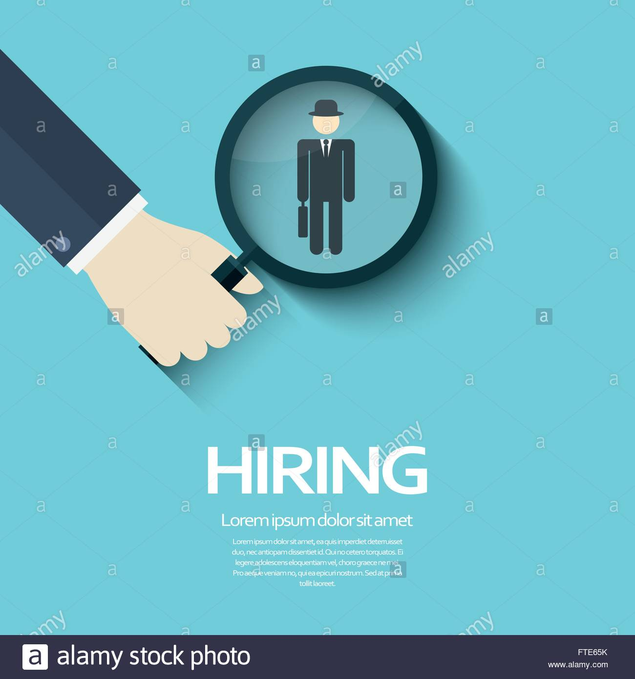 Hiring poster template with magnifying glass symbol and a Stock ...