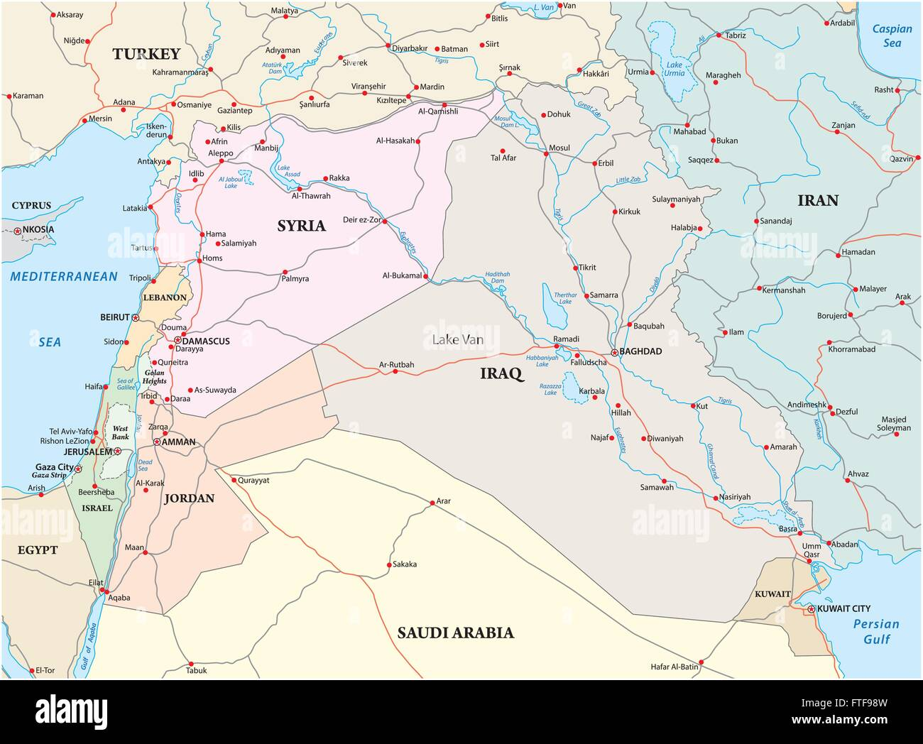 administrative political and road map of the middle east Stock