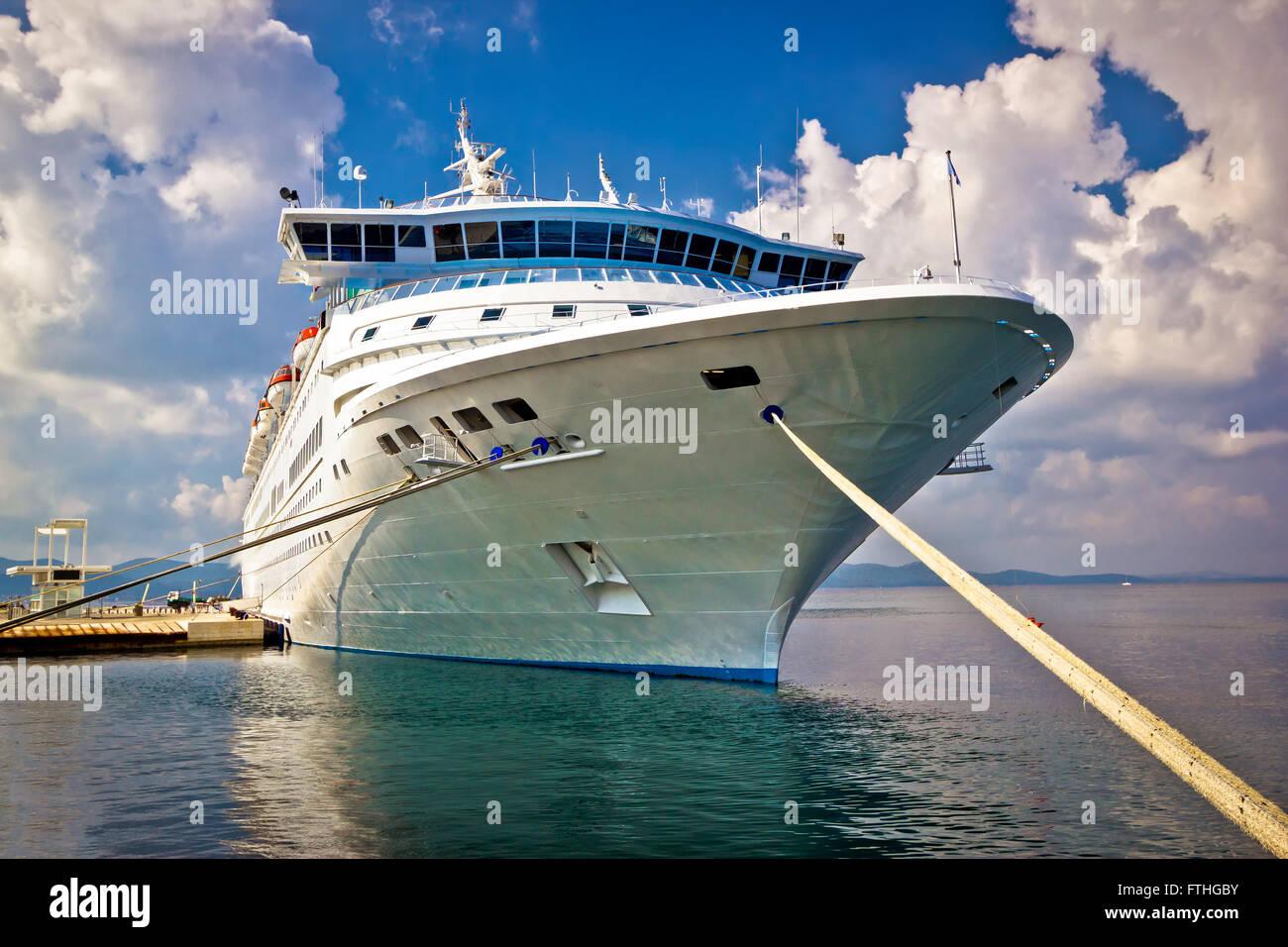 Big Docked Cruise Ship View In Zadar Croatia Stock Photo Royalty - Docked cruise ship
