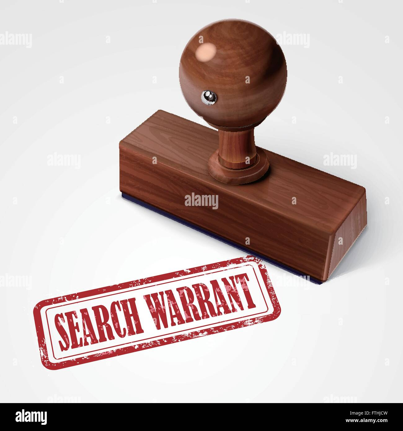 Stamp Search Warrant In Red Over White Background  Stock Image