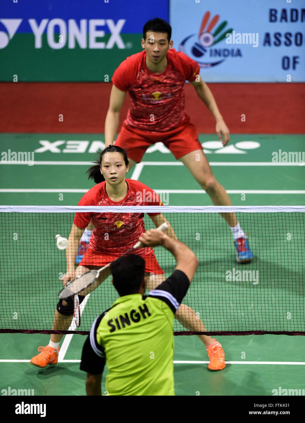 New Delhi 30th Mar 2016 Lu Kai top and Huang Yaqiong of China