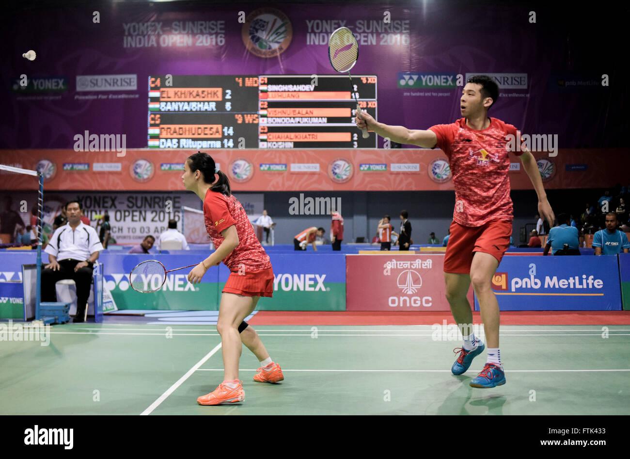 New Delhi 30th Mar 2016 Lu Kai R and Huang Yaqiong of China