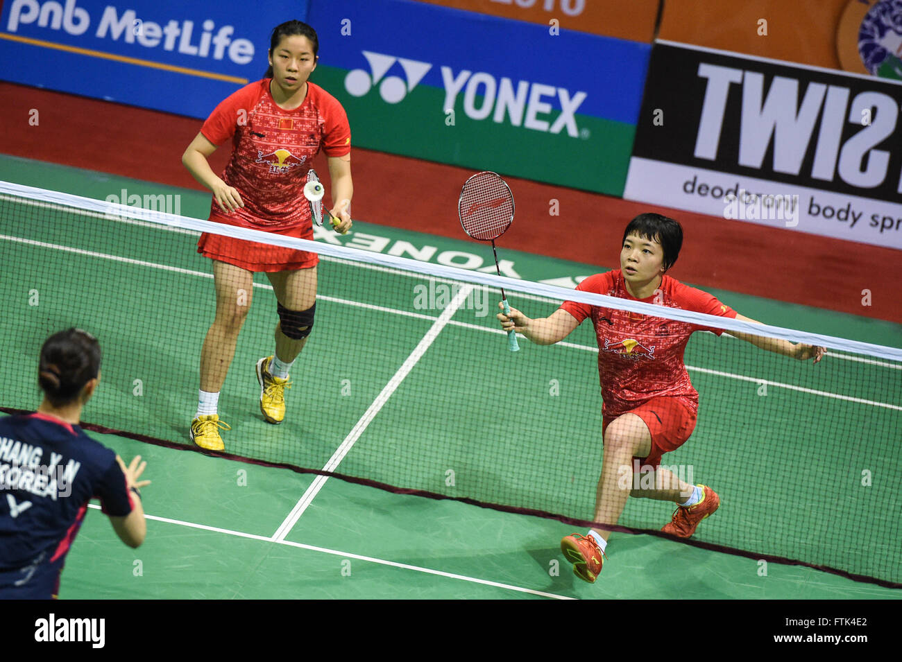 New Delhi 30th Mar 2016 Chen Qingchen R and Jia Yifan of