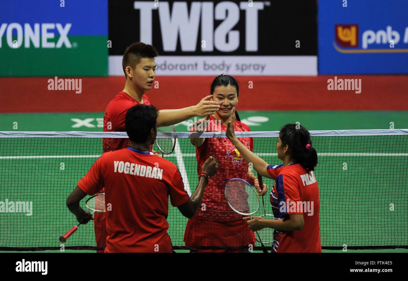 New Delhi 30th Mar 2016 Liu Yuchen L and Tang Jinhua of China