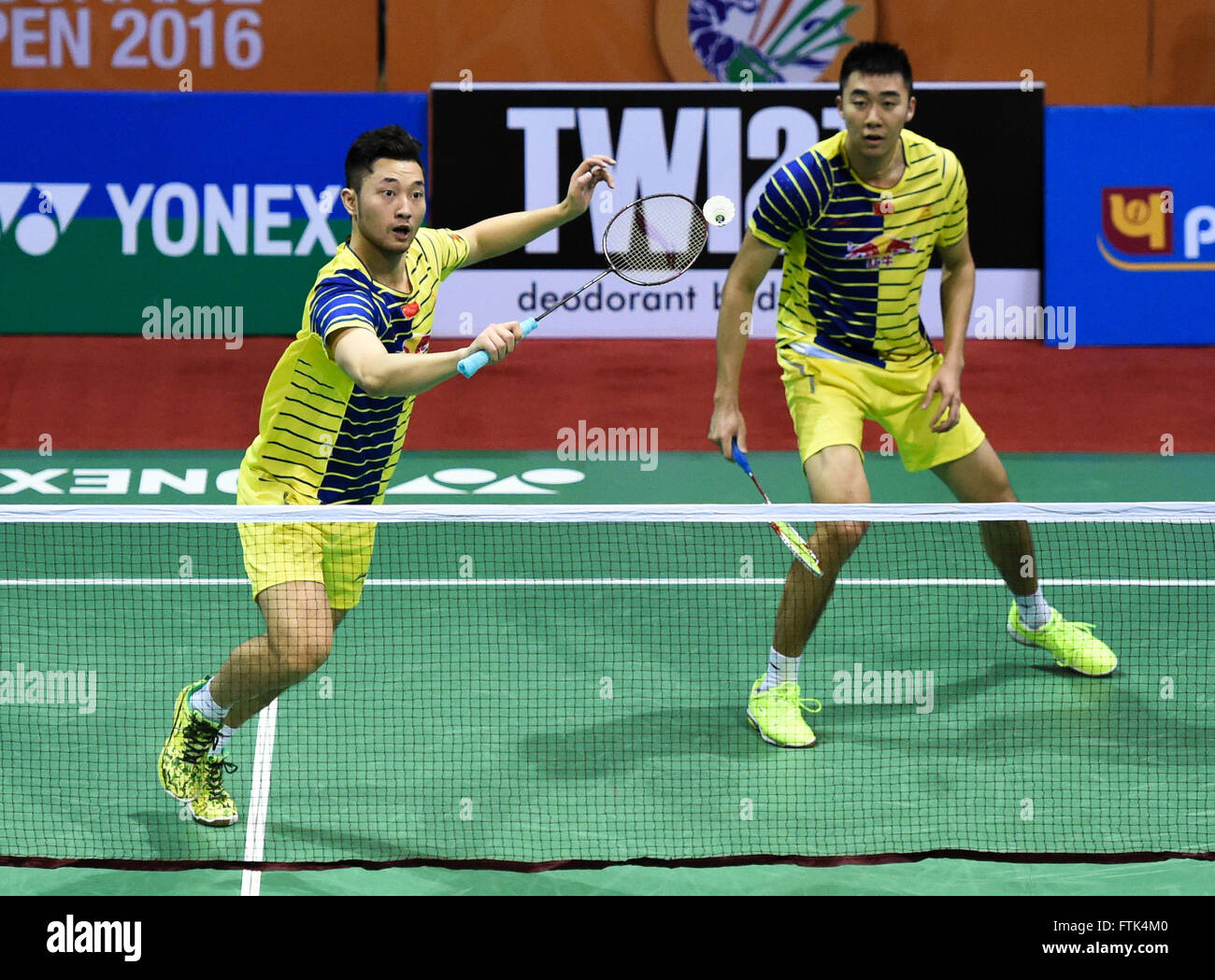 New Delhi 30th Mar 2016 Chai Biao L and Hong Wei of China