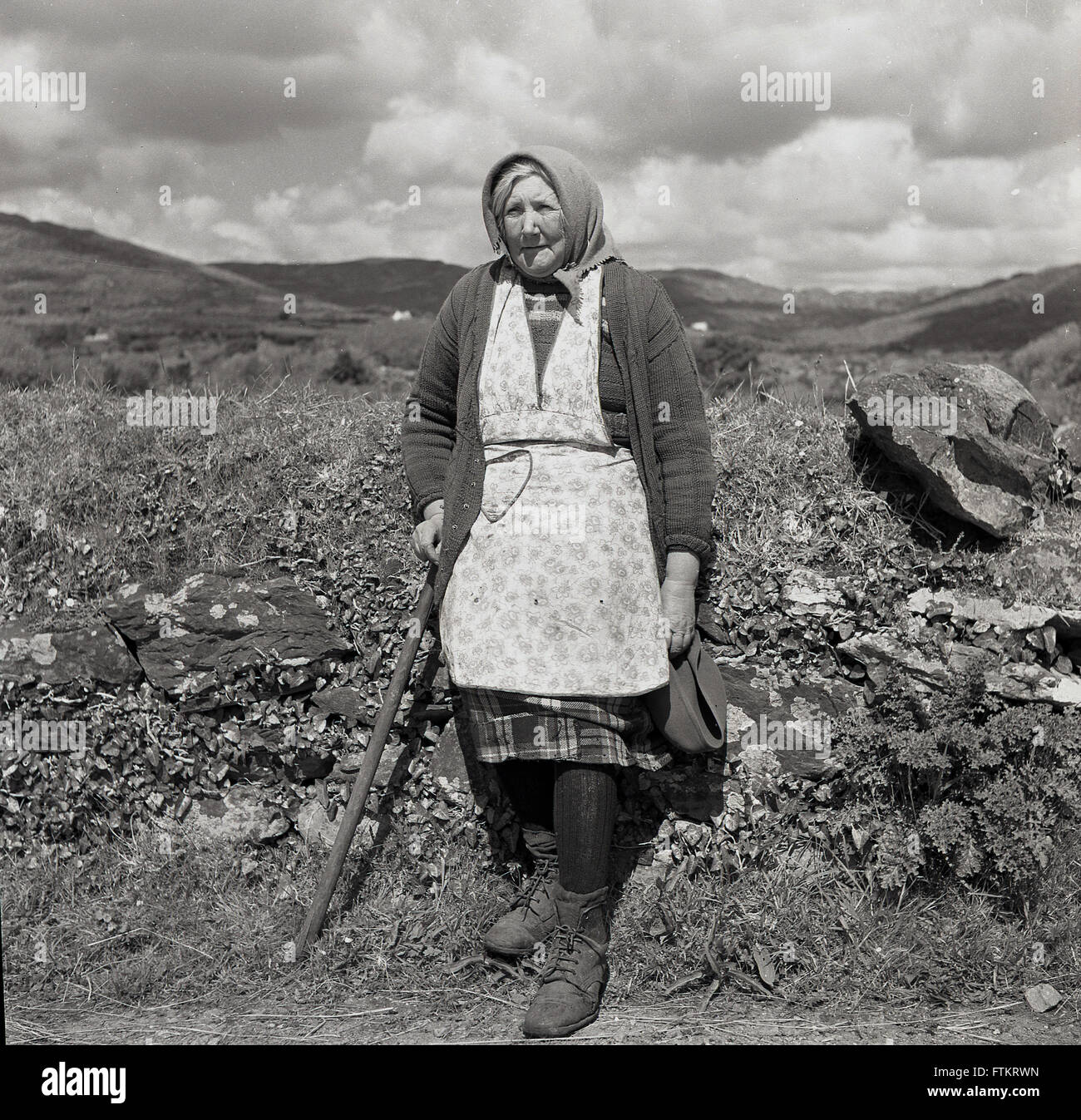 White apron ireland - 1950s Historical Portrait Of An Irish Country Woman Wearing Apron And Scarf Resting Against Hedgerow Ireland