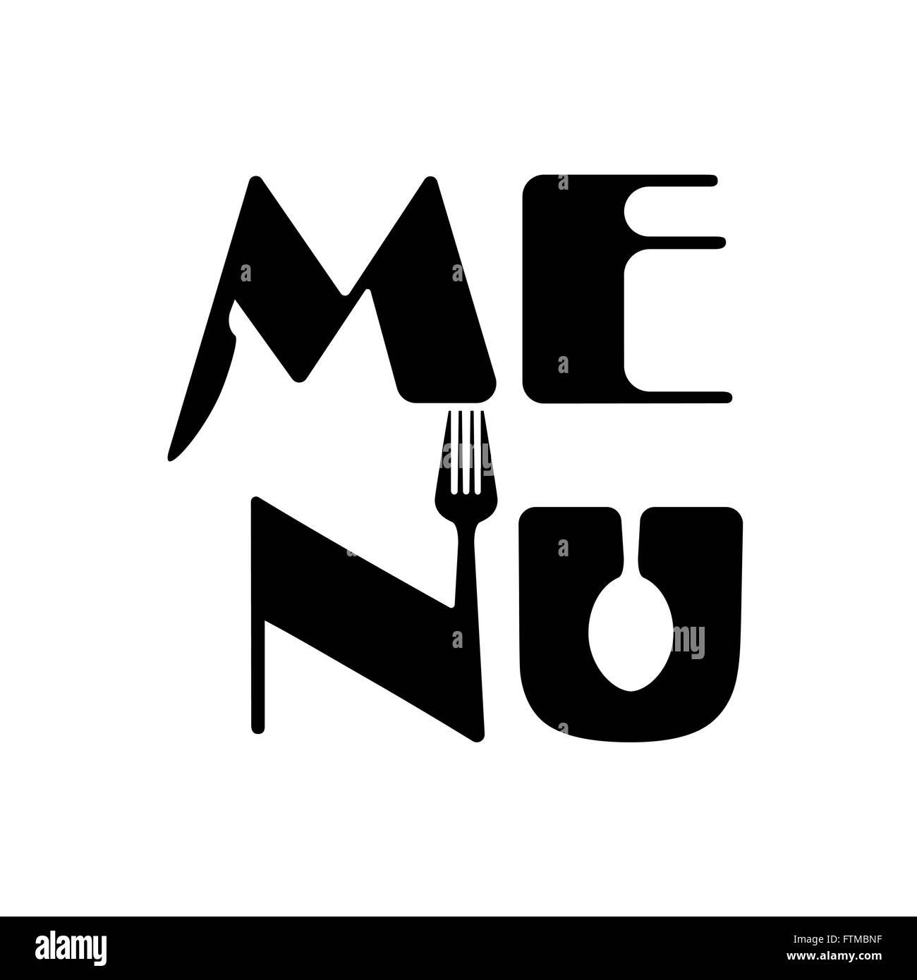 Creative Food Menu Word Logo Elements Design With Spoon