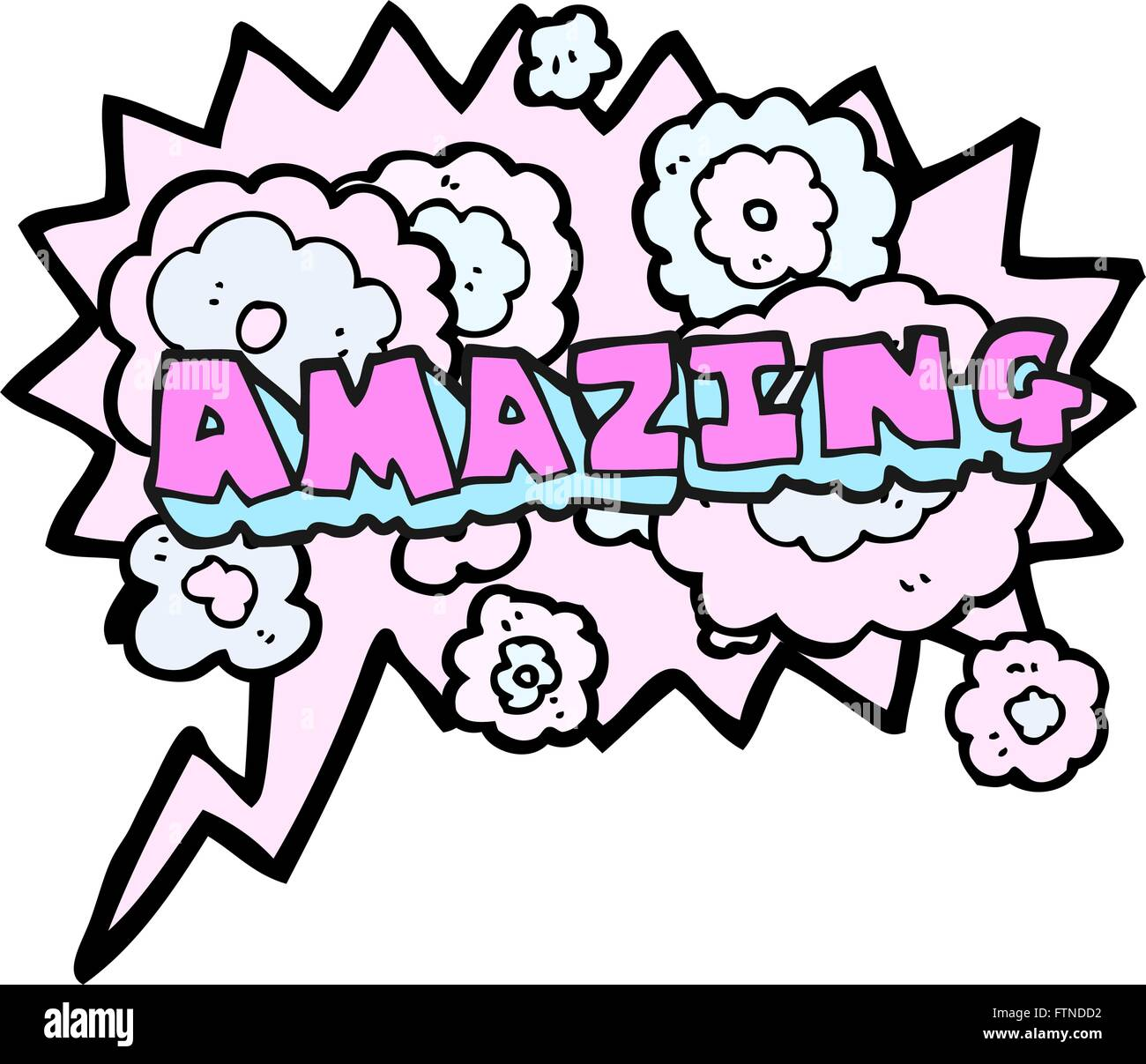 The Word Amazing: Freehand Drawn Speech Bubble Cartoon Amazing Word Stock