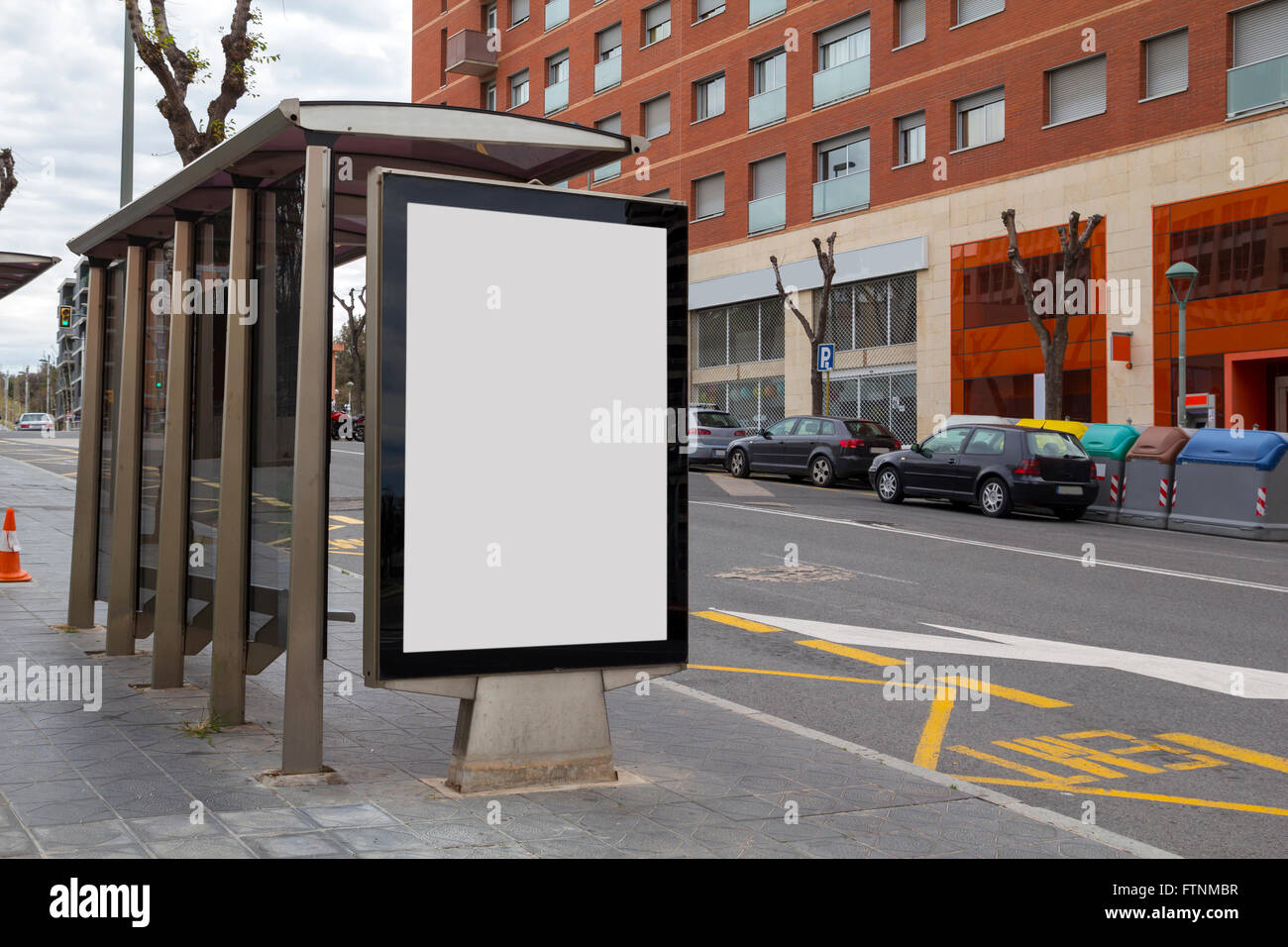 Blank bus stop ad