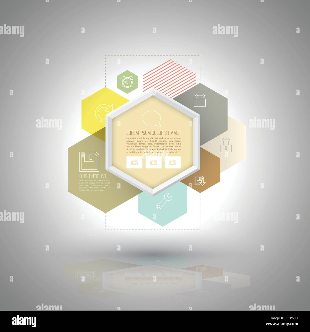 vector hexagons group use for business diagram, interface app, Presentation templates