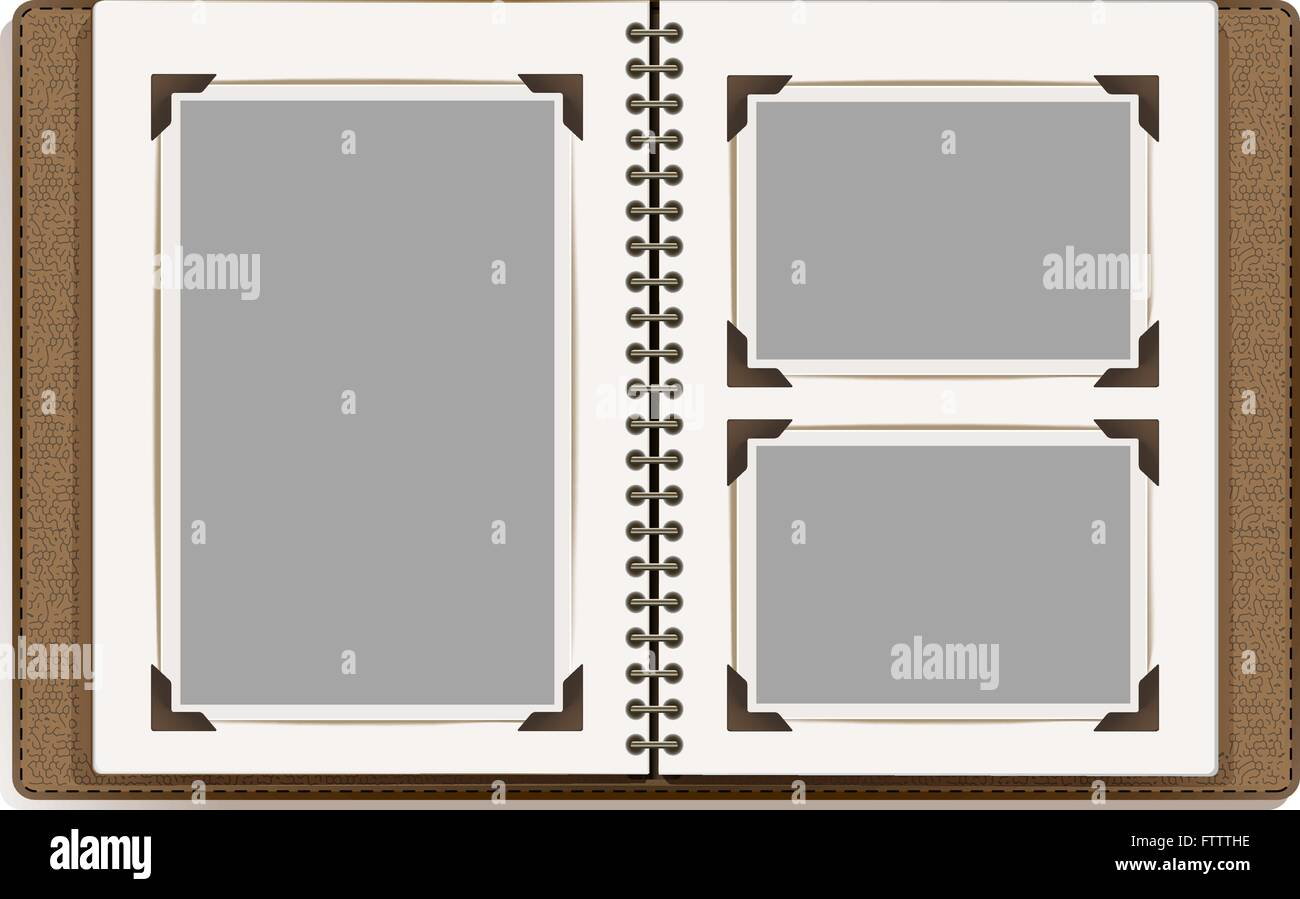 aged open photo album blank pages with retro photo frames vector stock vector art. Black Bedroom Furniture Sets. Home Design Ideas