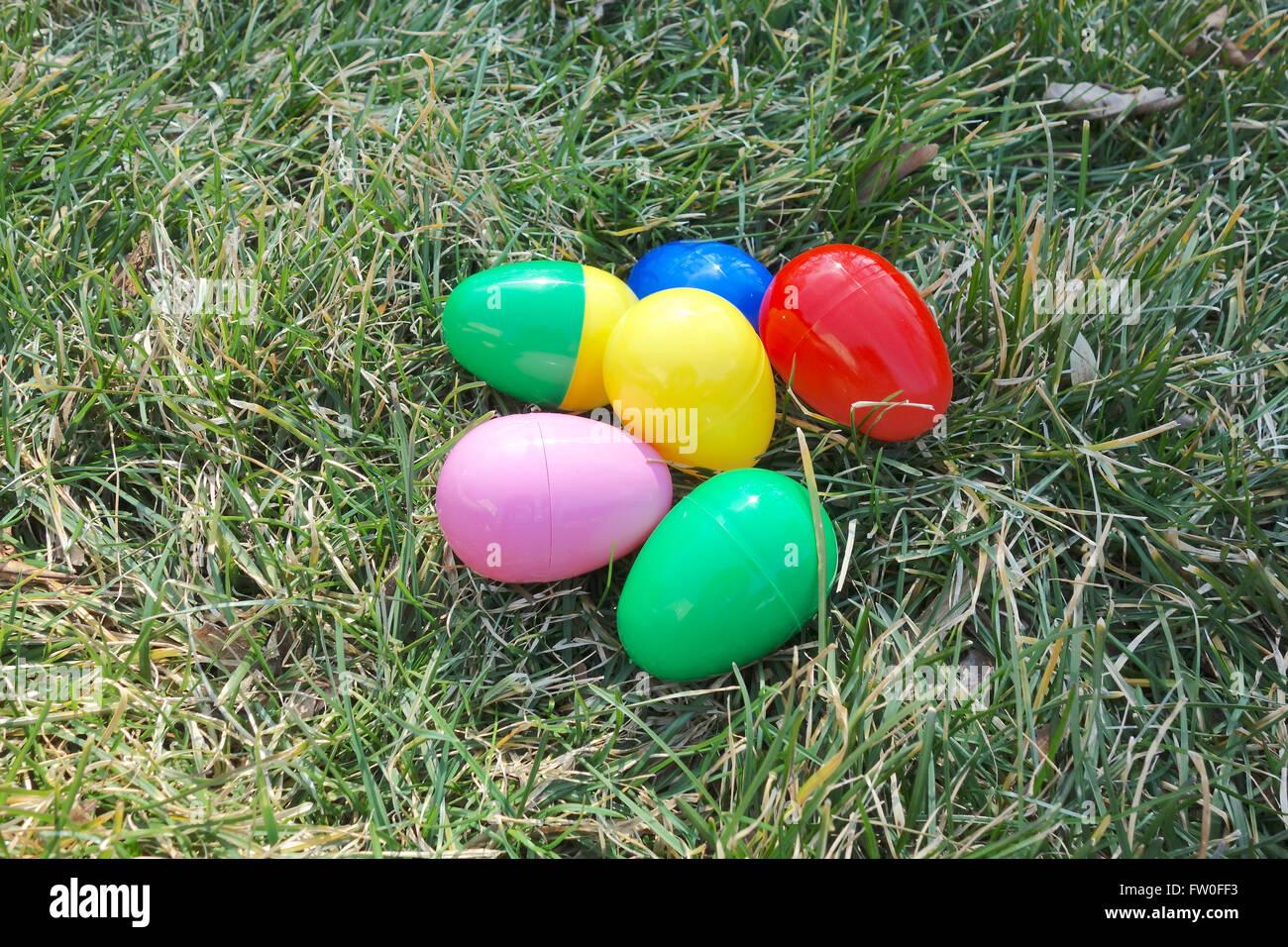 Plastic Easter Eggs On Grass
