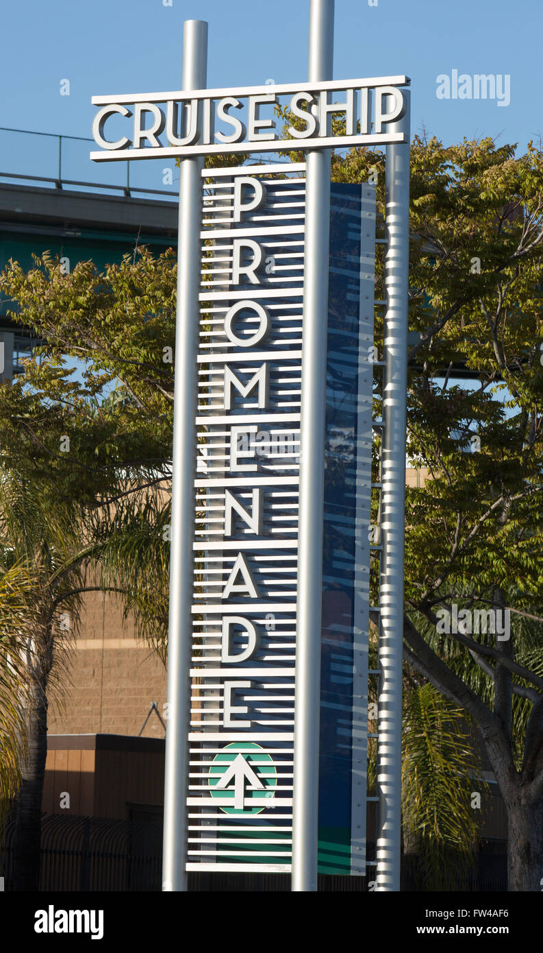 Cruise Ship Promenade Sign At The Port Of Los Angeles In San Pedro - Los angeles cruise ship terminal