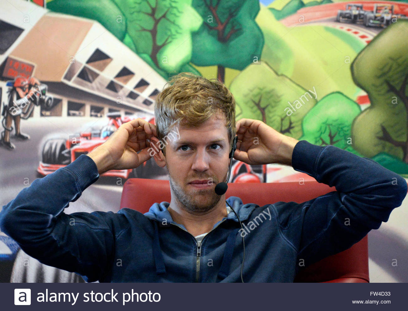german formula one driver sebastian vettel of red bull racing attends a press meeting in spielberg austria 27 may 2014 in view of the formula one grand austria view red bull
