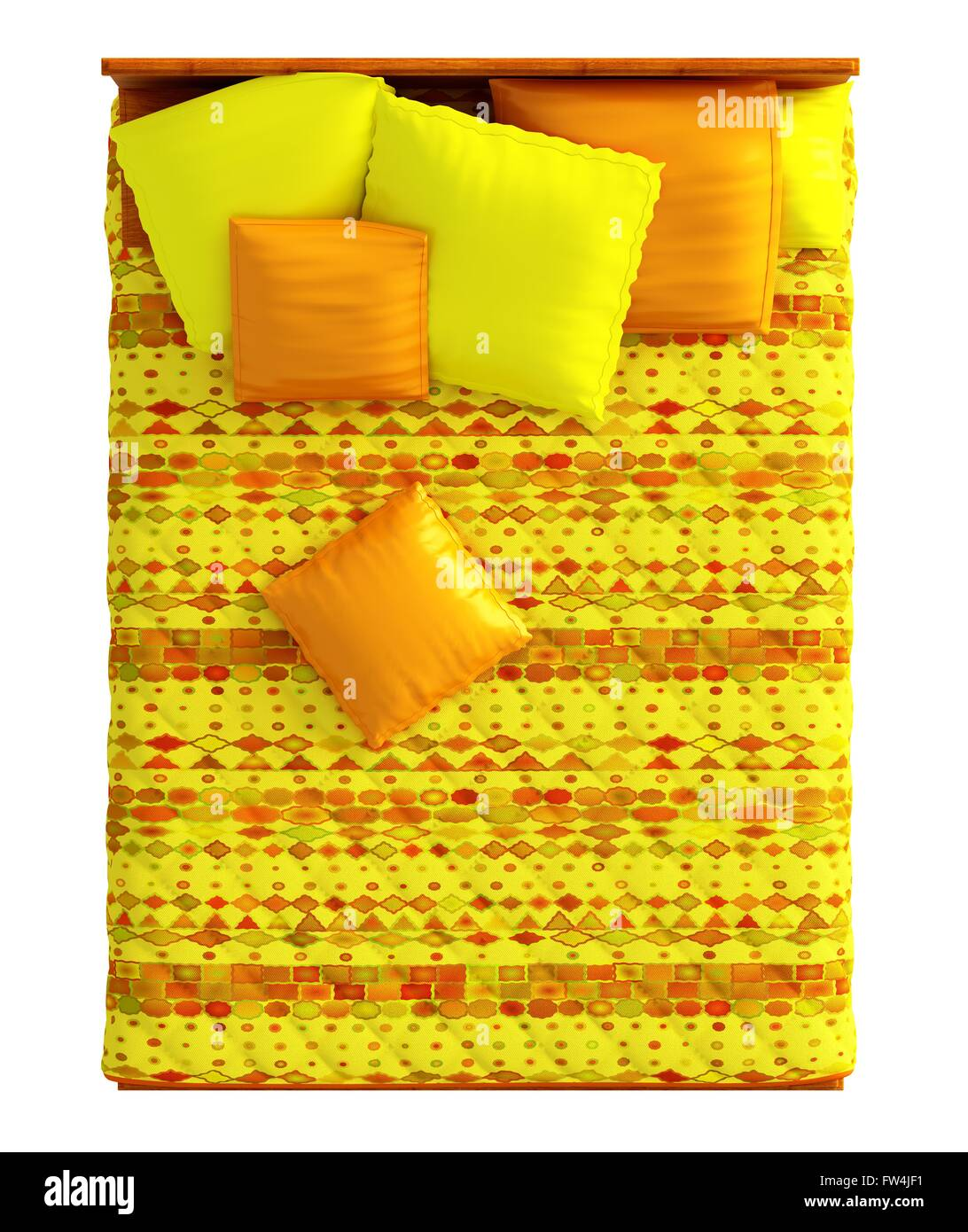 Double bed top view - 3d Rendering Bed Top View Isolated On White Stock Image