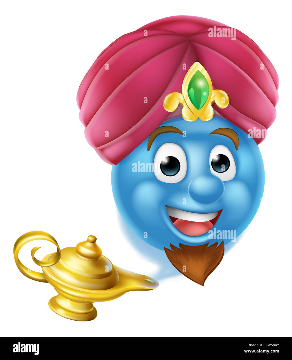 A Cartoon Emoticon Or Emoji Genie Like In The Story Of Aladdin Coming Out Magic Lamp