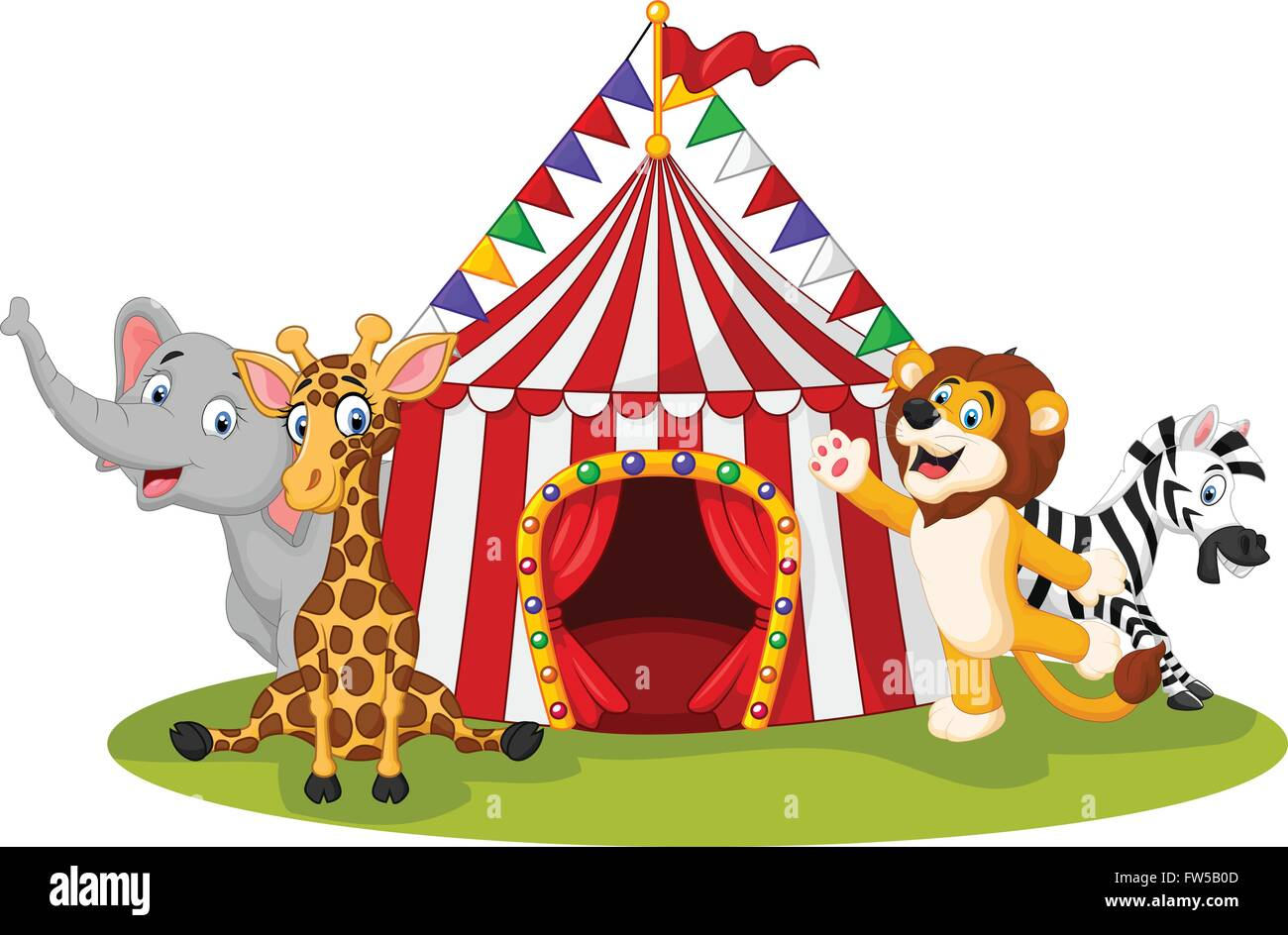 Cartoon animal circus with circus tent  sc 1 st  Alamy & Cartoon animal circus with circus tent Stock Vector Art ...
