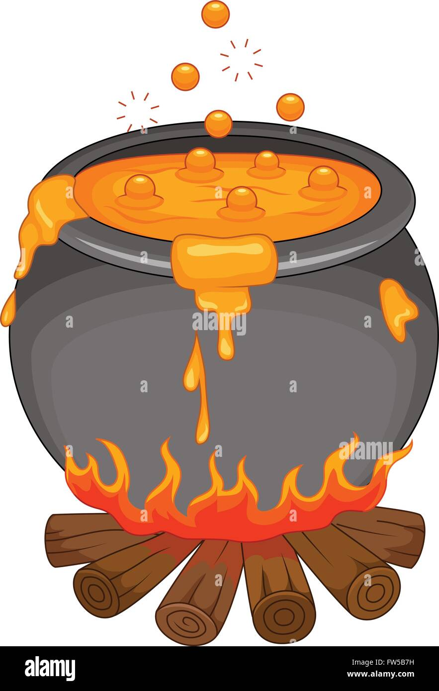 Cartoon Halloween cauldron isolated on white background Stock ...