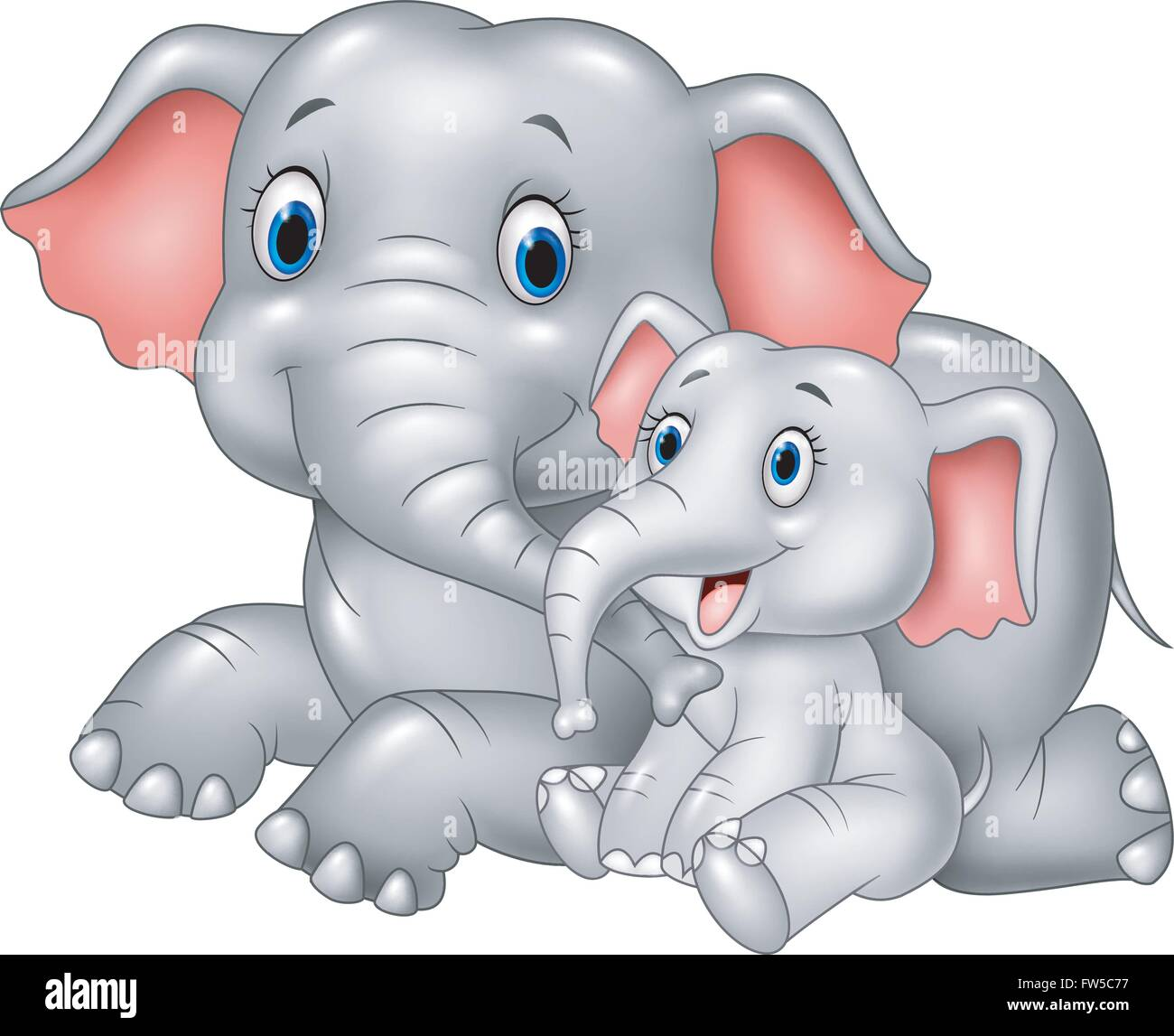 cartoon funny mother and baby elephant isolated on white