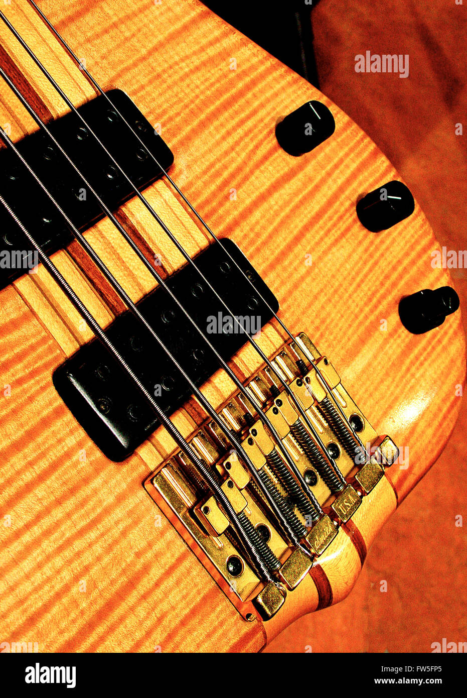 Electric bass guitar - showing electronic pick-up, strings and ...