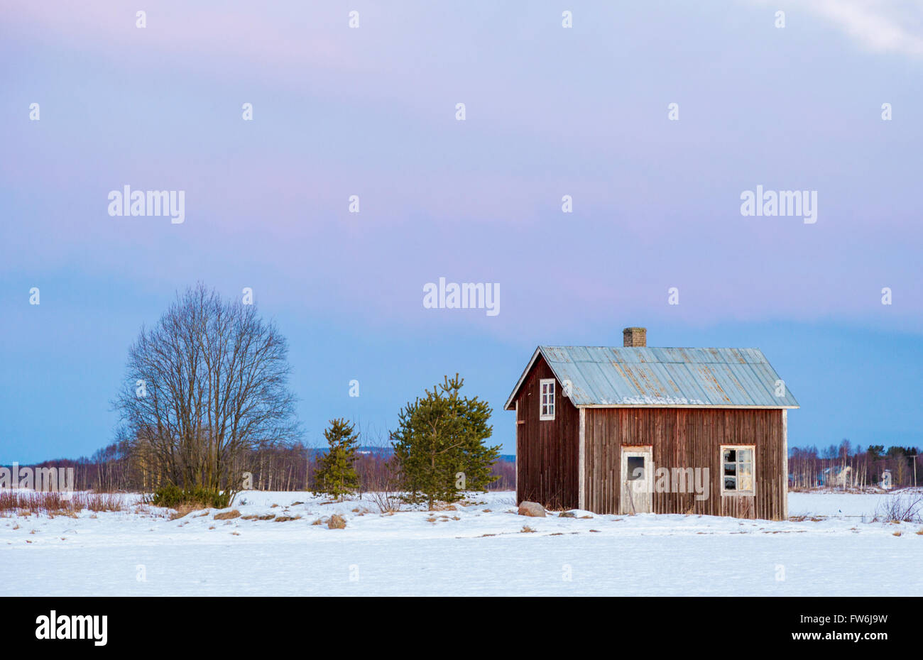Old House On A Field With Colorfull Sky And Snow On The ...