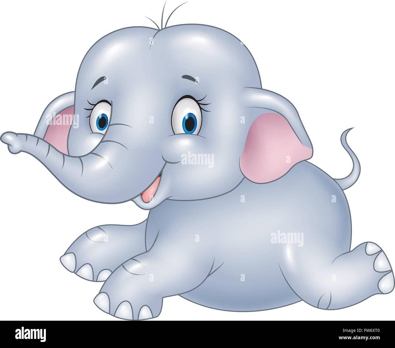 cartoon baby elephant sitting isolated on white background stock