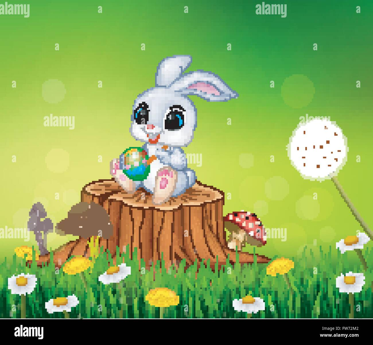 cartoon easter bunny painting an egg on tree stump in summer