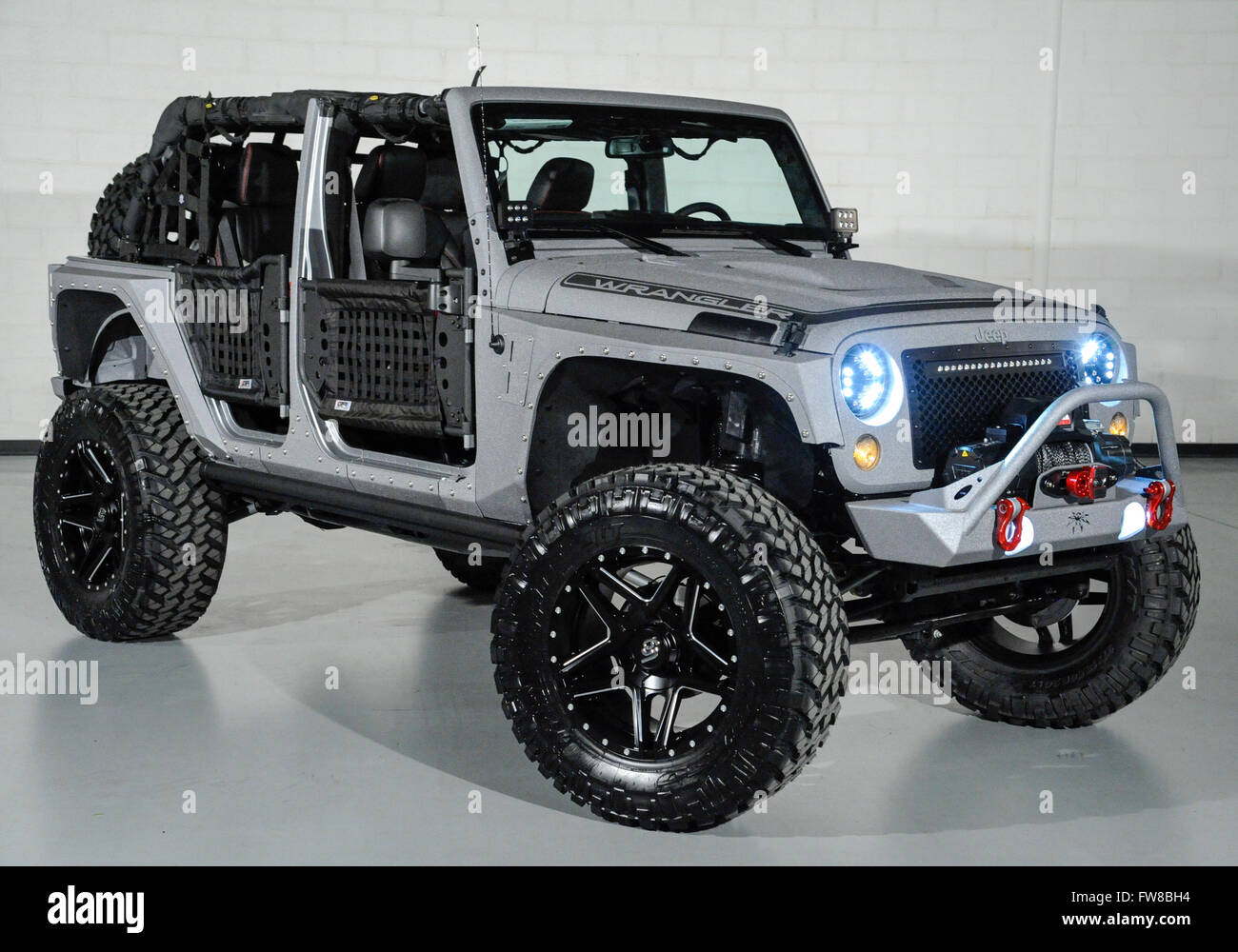 april 1 2016 custom jeep wrangler with custom doors and leather stock photo 101602960 alamy. Black Bedroom Furniture Sets. Home Design Ideas
