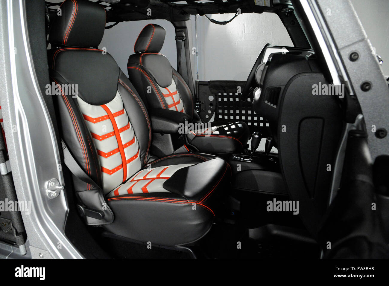April 1 2016 Custom Jeep Wrangler With Custom Doors And Leather Stock Photo Royalty Free