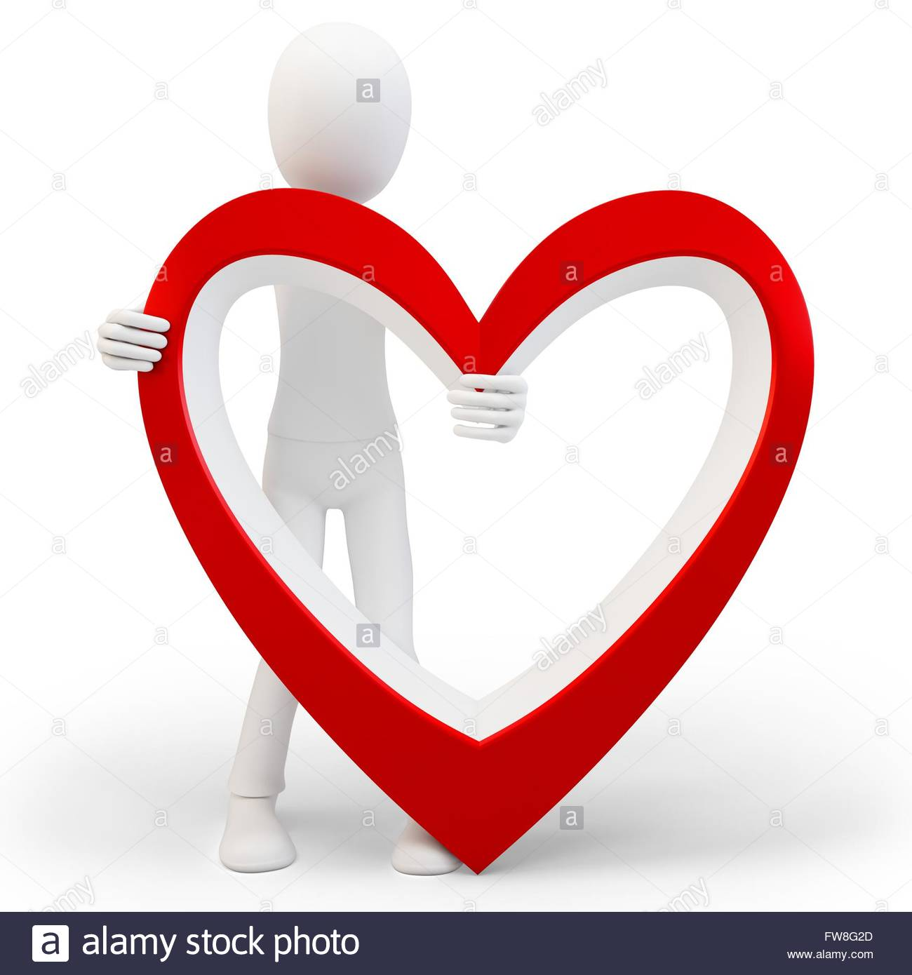 3d man with big red heart love concept on white background stock 3d man with big red heart love concept on white background buycottarizona Image collections