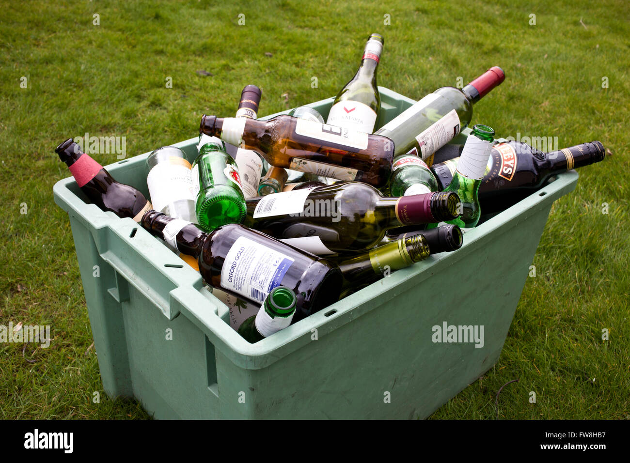 Recycling Glass Wine Bottles In A Recycling Bin Ready For