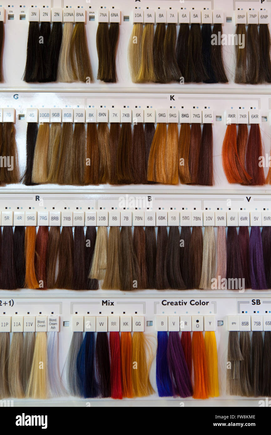 Samples Of Hair In A Hairdressers Salon Showing The Range