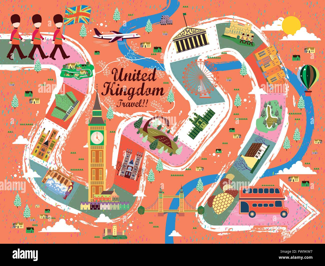 energetic united kingdom travel board game poster design