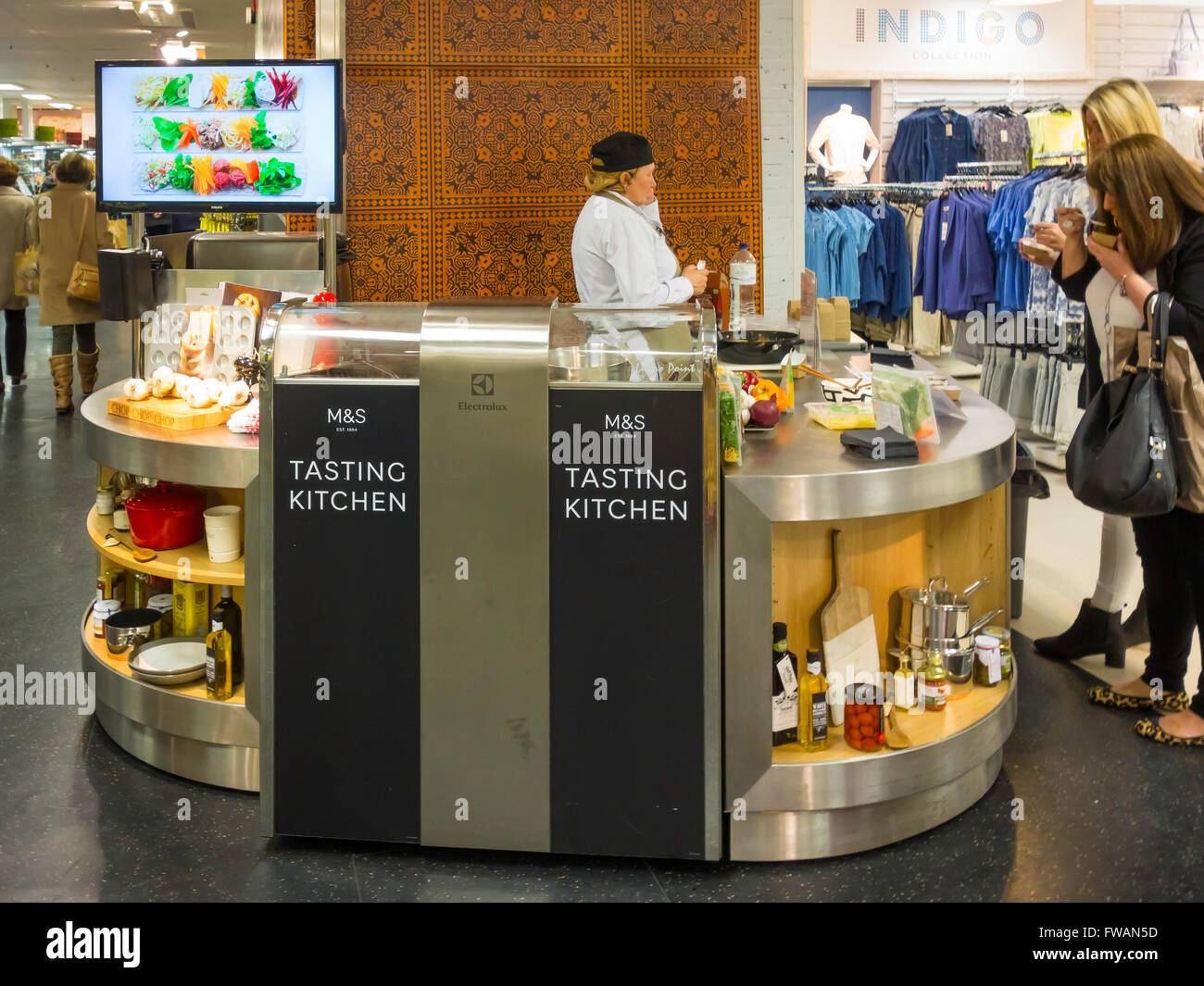 marks amp spencer in store tasting kitchen where customers may taste items from the food store: kitchen items store