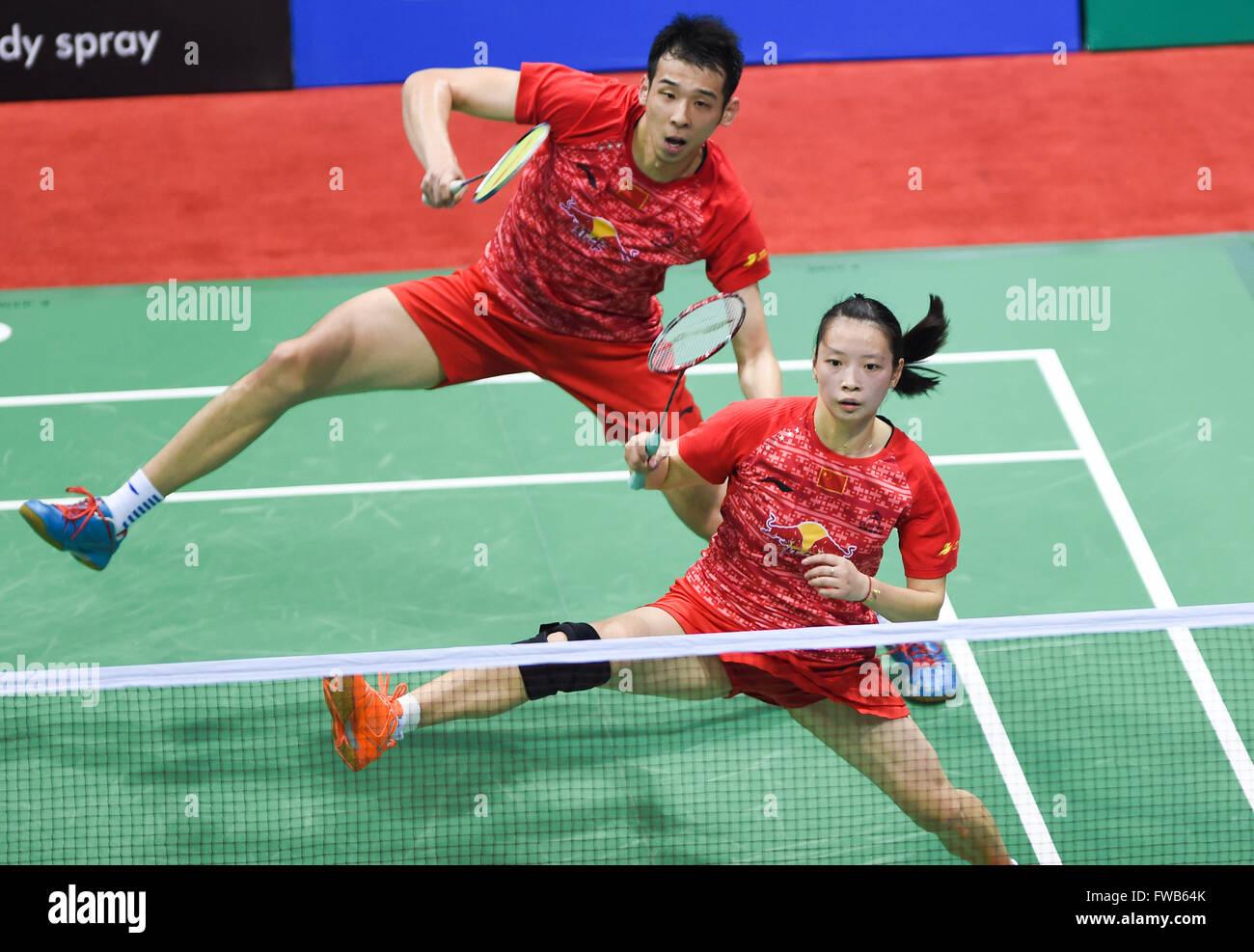 New Delhi India 3rd Apr 2016 Lu Kai L and Huang Yaqun of