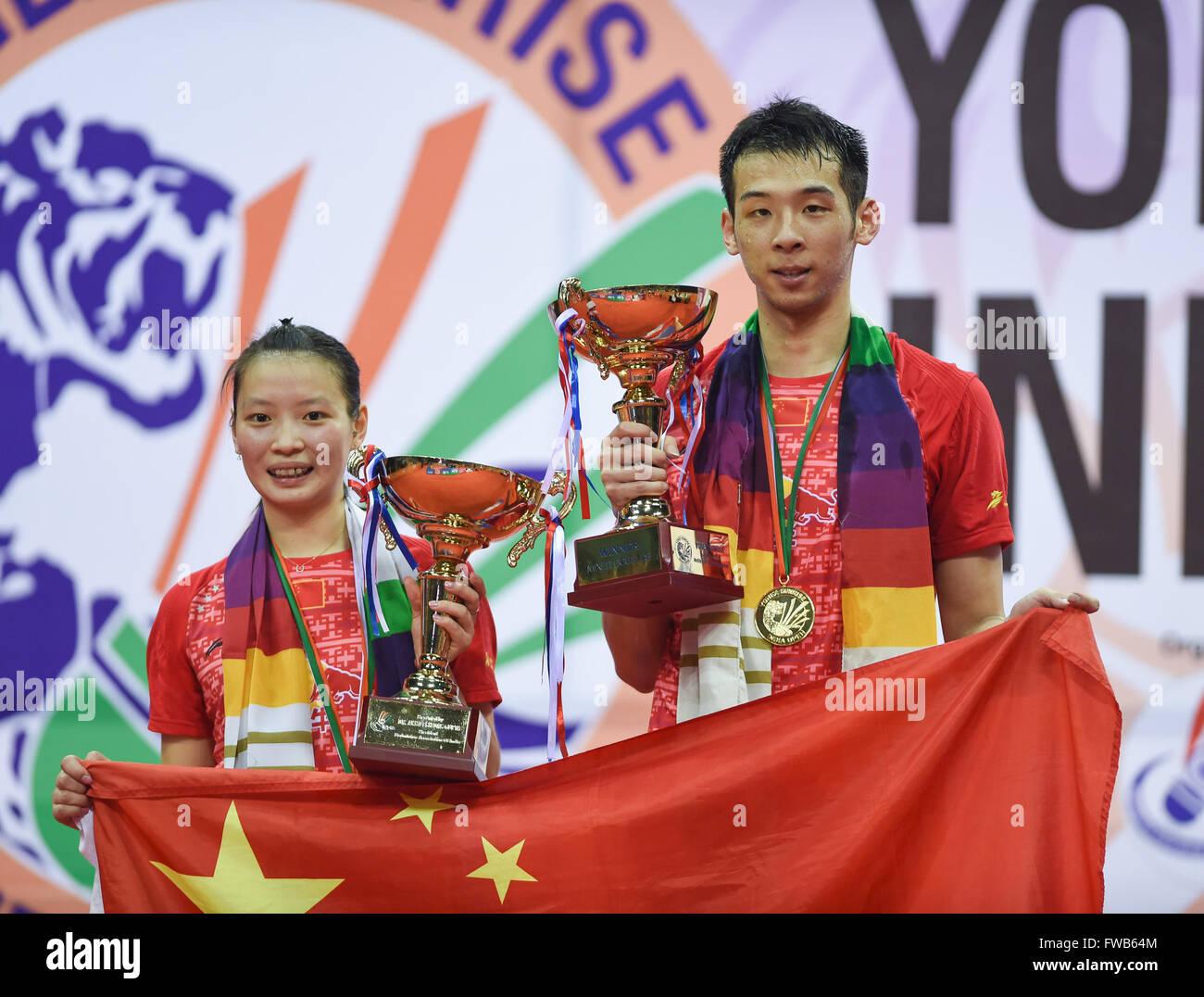 New Delhi India 3rd Apr 2016 Lu Kai R and Huang Yaqun of