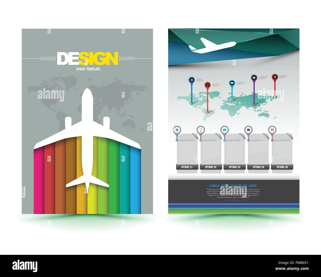 Vector Airplane Brochure Template Design Business Graphics Stock - Template brochures